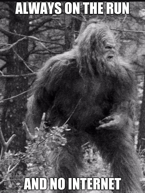 Big foot | ALWAYS ON THE RUN AND NO INTERNET | image tagged in big foot | made w/ Imgflip meme maker
