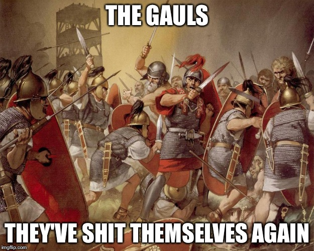 THE GAULS THEY'VE SHIT THEMSELVES AGAIN | image tagged in roman legion | made w/ Imgflip meme maker