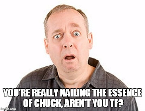 YOU'RE REALLY NAILING THE ESSENCE OF CHUCK, AREN'T YOU TF? | made w/ Imgflip meme maker