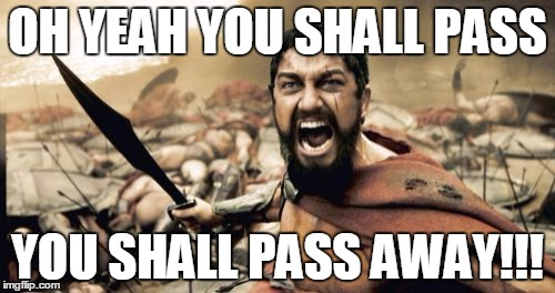 Sparta Leonidas Meme | OH YEAH YOU SHALL PASS YOU SHALL PASS AWAY!!! | image tagged in memes,sparta leonidas | made w/ Imgflip meme maker