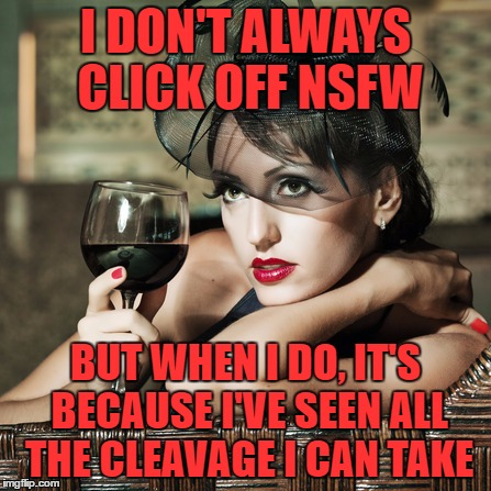 Probably won't win the upvote prize  | I DON'T ALWAYS CLICK OFF NSFW BUT WHEN I DO, IT'S BECAUSE I'VE SEEN ALL THE CLEAVAGE I CAN TAKE | image tagged in retro-woman warning,cleavage week,most interesting woman in the world | made w/ Imgflip meme maker