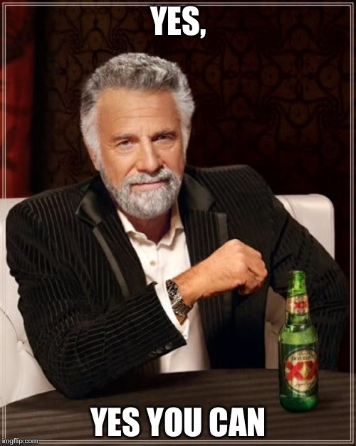 The Most Interesting Man In The World Meme | YES, YES YOU CAN | image tagged in memes,the most interesting man in the world | made w/ Imgflip meme maker