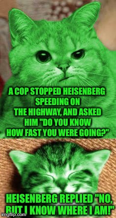 "Bad Pun RayCat | A COP STOPPED HEISENBERG SPEEDING ON THE HIGHWAY, AND ASKED HIM ""DO YOU KNOW HOW FAST YOU WERE GOING?"" HEISENBERG REPLIED ""NO, BUT I KNOW WH 