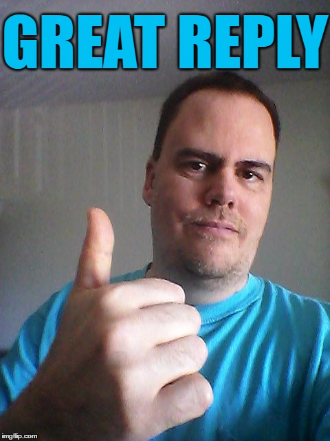 Thumbs up | GREAT REPLY | image tagged in thumbs up | made w/ Imgflip meme maker