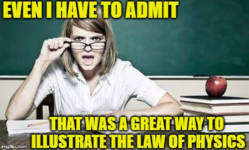 teacher | EVEN I HAVE TO ADMIT THAT WAS A GREAT WAY TO ILLUSTRATE THE LAW OF PHYSICS | image tagged in teacher | made w/ Imgflip meme maker