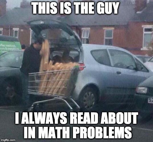 Jake has 45 loaves of bread, he eats 13 of them, how many loaves of bread does Jake have left? |  THIS IS THE GUY; I ALWAYS READ ABOUT IN MATH PROBLEMS | image tagged in math,memes,funny,funnymemes | made w/ Imgflip meme maker