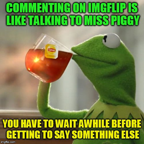 Down with comment timers | COMMENTING ON IMGFLIP IS LIKE TALKING TO MISS PIGGY YOU HAVE TO WAIT AWHILE BEFORE GETTING TO SAY SOMETHING ELSE | image tagged in memes,but thats none of my business,kermit the frog | made w/ Imgflip meme maker