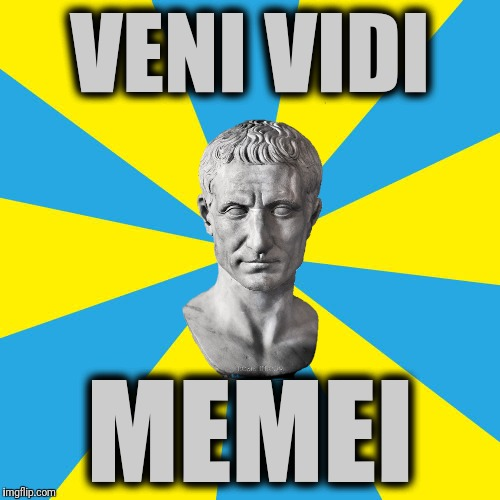 JULIUS MÆMER | VENI VIDI MEMEI | image tagged in blank yellow and cyan background,memes,julius caesar,veni vidi vici,friends romans countrymen lend me your memes | made w/ Imgflip meme maker