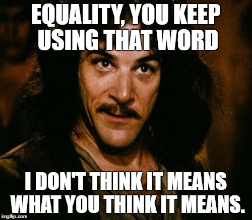 EQUALITY, YOU KEEP USING THAT WORD I DON'T THINK IT MEANS WHAT YOU THINK IT MEANS. | made w/ Imgflip meme maker