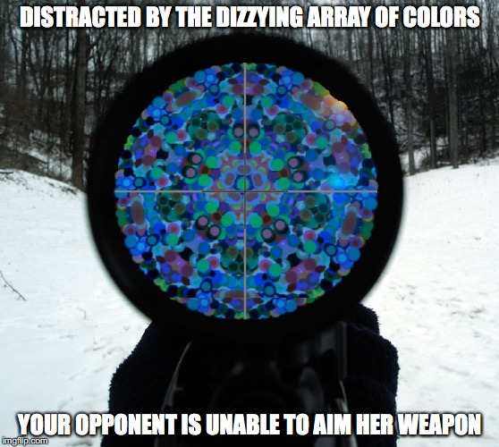 Kaleidoscope Rifle | DISTRACTED BY THE DIZZYING ARRAY OF COLORS YOUR OPPONENT IS UNABLE TO AIM HER WEAPON | image tagged in kaleidoscope,rifle,memes | made w/ Imgflip meme maker