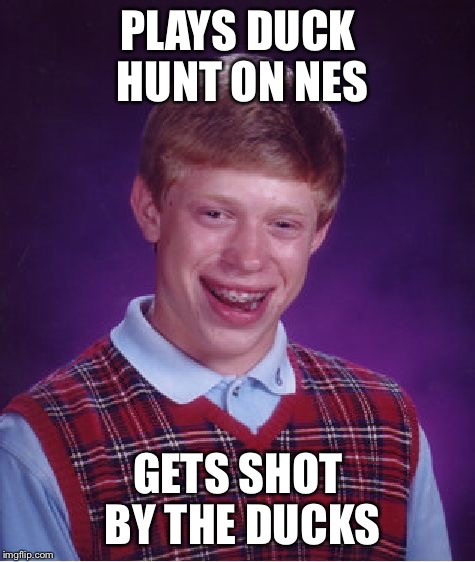 The ducks are getting revenge  | PLAYS DUCK HUNT ON NES GETS SHOT BY THE DUCKS | image tagged in memes,bad luck brian,nintendo entertainment system,duck hunt,video game | made w/ Imgflip meme maker