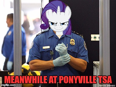 My Submission For My Little Pony Week (a xanderbrony event) | MEANWHILE AT PONYVILLE TSA | image tagged in my little pony meme week,my little pony,rarity,tsa,bend over | made w/ Imgflip meme maker