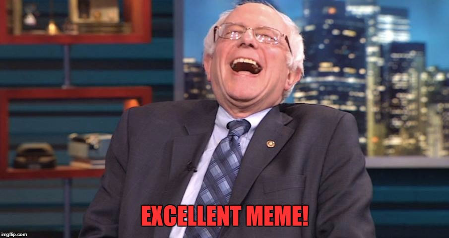 Bernie Laugh | EXCELLENT MEME! | image tagged in bernie laugh | made w/ Imgflip meme maker