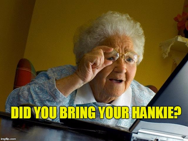 Grandma Finds The Internet Meme | DID YOU BRING YOUR HANKIE? | image tagged in memes,grandma finds the internet | made w/ Imgflip meme maker
