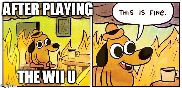 This Is Fine |  AFTER PLAYING; THE WII U | image tagged in this is fine dog | made w/ Imgflip meme maker