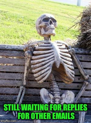 Waiting Skeleton Meme | STILL WAITING FOR REPLIES FOR OTHER EMAILS | image tagged in memes,waiting skeleton | made w/ Imgflip meme maker