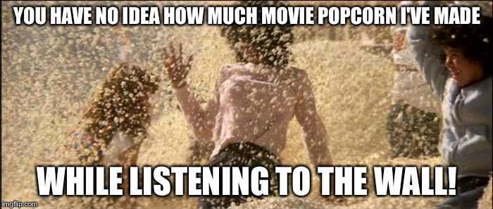 YOU HAVE NO IDEA HOW MUCH MOVIE POPCORN I'VE MADE WHILE LISTENING TO THE WALL! | made w/ Imgflip meme maker