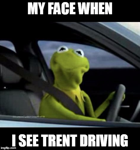 Kermit Driving |  MY FACE WHEN; I SEE TRENT DRIVING | image tagged in kermit driving | made w/ Imgflip meme maker