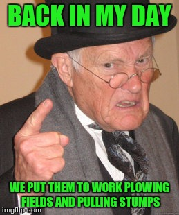 Back In My Day Meme | BACK IN MY DAY WE PUT THEM TO WORK PLOWING FIELDS AND PULLING STUMPS | image tagged in memes,back in my day | made w/ Imgflip meme maker