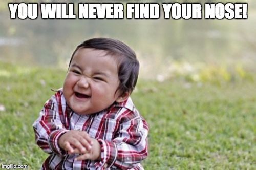 Evil Toddler Meme | YOU WILL NEVER FIND YOUR NOSE! | image tagged in memes,evil toddler | made w/ Imgflip meme maker