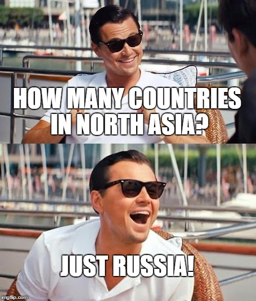 Leonardo Dicaprio Wolf Of Wall Street | HOW MANY COUNTRIES IN NORTH ASIA? JUST RUSSIA! | image tagged in memes,leonardo dicaprio wolf of wall street,russia,asia | made w/ Imgflip meme maker
