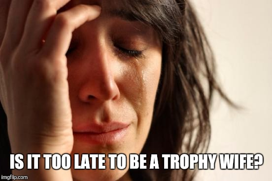 First World Problems Meme | IS IT TOO LATE TO BE A TROPHY WIFE? | image tagged in memes,first world problems | made w/ Imgflip meme maker