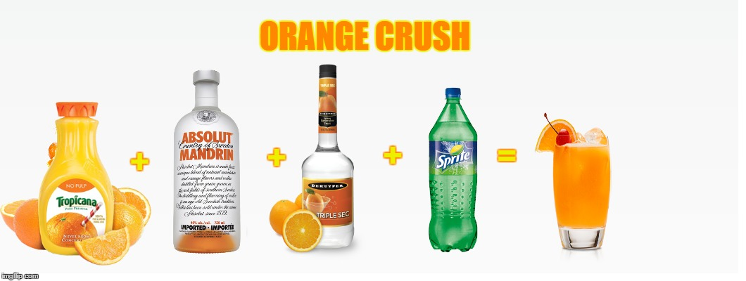 Orange Crush - Official Drink of Fruit Week - A 123Guy event | + + + = ORANGE CRUSH | image tagged in memes,fruit week,123guy,oranges,orange crush,vodka | made w/ Imgflip meme maker
