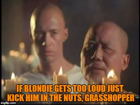 IF BLONDIE GETS TOO LOUD JUST KICK HIM IN THE NUTS, GRASSHOPPER | made w/ Imgflip meme maker
