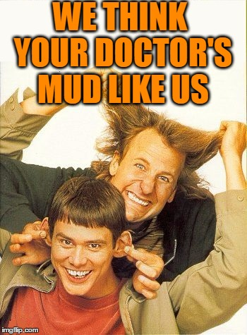 DUMB and dumber | WE THINK YOUR DOCTOR'S MUD LIKE US | image tagged in dumb and dumber | made w/ Imgflip meme maker