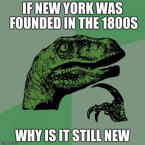 Philosoraptor Meme | IF NEW YORK WAS FOUNDED IN THE 1800S WHY IS IT STILL NEW | image tagged in memes,philosoraptor | made w/ Imgflip meme maker