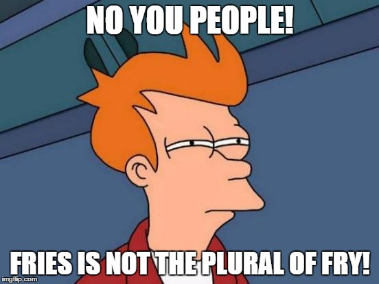 Futurama Fry Meme | NO YOU PEOPLE! FRIES IS NOT THE PLURAL OF FRY! | image tagged in memes,futurama fry | made w/ Imgflip meme maker