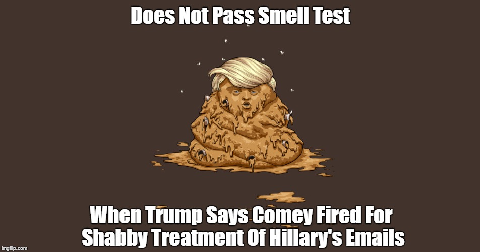 Does Not Pass Smell Test When Trump Says Comey Fired For Shabby Treatment Of Hillary's Emails | made w/ Imgflip meme maker