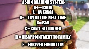 Asian Grading System | ASIAN GRADING SYSTEM- A+ = GOOD A= AVERAGE A- = TRY BETTER NEXT TIME B= BAD C= CAN'T EAT DINNER D = DISAPPOINTMENT TO FAMILY F = FOREVER FOR | image tagged in asian,meme,school | made w/ Imgflip meme maker