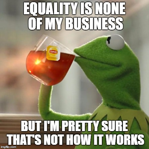 But Thats None Of My Business Meme | EQUALITY IS NONE OF MY BUSINESS BUT I'M PRETTY SURE THAT'S NOT HOW IT WORKS | image tagged in memes,but thats none of my business,kermit the frog | made w/ Imgflip meme maker