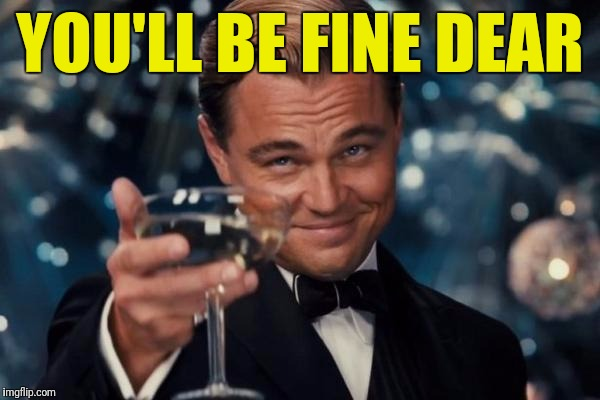 Leonardo Dicaprio Cheers Meme | YOU'LL BE FINE DEAR | image tagged in memes,leonardo dicaprio cheers | made w/ Imgflip meme maker