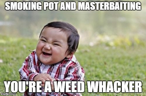 Weed whacker  | SMOKING POT AND MASTERBAITING YOU'RE A WEED WHACKER | image tagged in memes,evil toddler | made w/ Imgflip meme maker