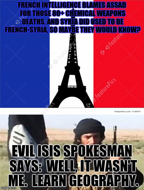 FRENCH INTELLIGENCE BLAMES ASSAD FOR THOSE 80+ CHEMICAL WEAPONS DEATHS, AND SYRIA DID USED TO BE FRENCH-SYRIA, SO MAYBE THEY WOULD KNOW? EVI | made w/ Imgflip meme maker