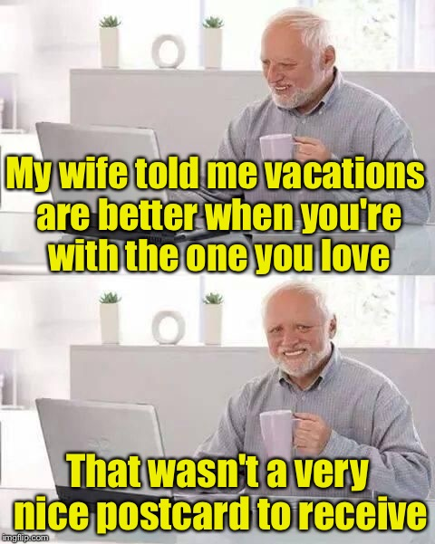 hide the pain harold | My wife told me vacations are better when you're with the one you love That wasn't a very nice postcard to receive | image tagged in hide the pain harold | made w/ Imgflip meme maker