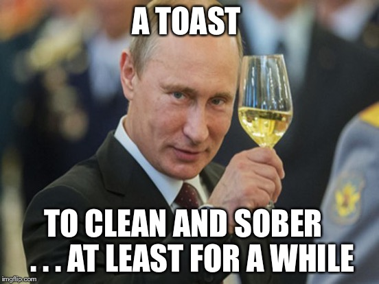 A TOAST TO CLEAN AND SOBER   . . . AT LEAST FOR A WHILE | made w/ Imgflip meme maker