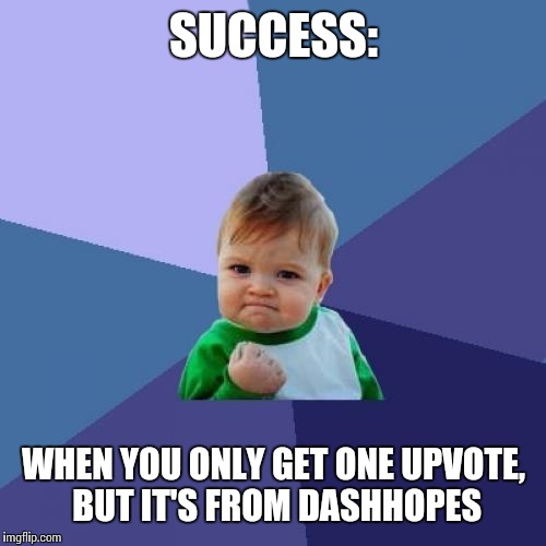 Success Kid Meme | SUCCESS: WHEN YOU ONLY GET ONE UPVOTE, BUT IT'S FROM DASHHOPES | image tagged in memes,success kid | made w/ Imgflip meme maker