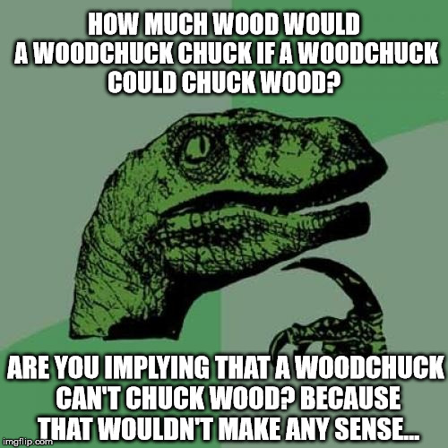 Contrary to popular belief, woodchucks can indeed chuck wood. | HOW MUCH WOOD WOULD A WOODCHUCK CHUCK IF A WOODCHUCK COULD CHUCK WOOD? ARE YOU IMPLYING THAT A WOODCHUCK CAN'T CHUCK WOOD? BECAUSE THAT WOUL | image tagged in memes,philosoraptor | made w/ Imgflip meme maker