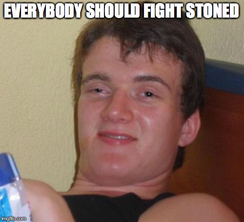 10 Guy Meme | EVERYBODY SHOULD FIGHT STONED | image tagged in memes,10 guy | made w/ Imgflip meme maker