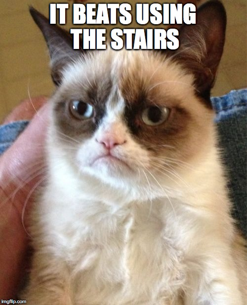 Grumpy Cat Meme | IT BEATS USING THE STAIRS | image tagged in memes,grumpy cat | made w/ Imgflip meme maker