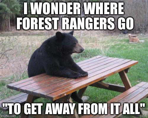 "Bad Luck Bear Meme | I WONDER WHERE FOREST RANGERS GO ""TO GET AWAY FROM IT ALL"" 