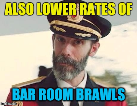 Captain Obvious | ALSO LOWER RATES OF BAR ROOM BRAWLS | image tagged in captain obvious | made w/ Imgflip meme maker