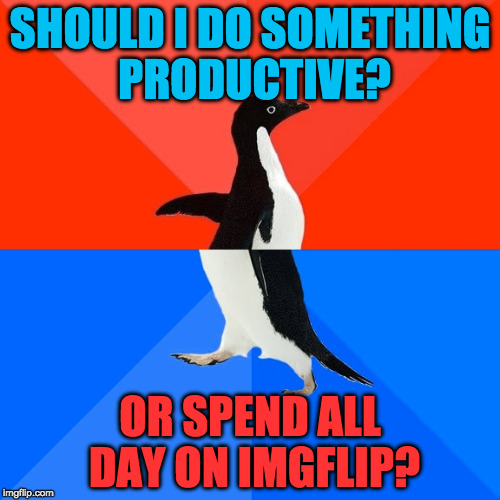 The Daily Struggle | SHOULD I DO SOMETHING PRODUCTIVE? OR SPEND ALL DAY ON IMGFLIP? | image tagged in memes,socially awesome awkward penguin,meme,funny,laugh,crazy | made w/ Imgflip meme maker
