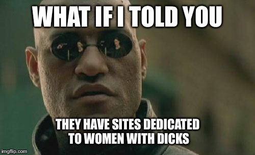 Matrix Morpheus Meme | WHAT IF I TOLD YOU THEY HAVE SITES DEDICATED TO WOMEN WITH DICKS | image tagged in memes,matrix morpheus | made w/ Imgflip meme maker