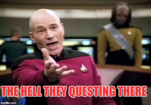 Picard Wtf Meme | THE HELL THEY QUESTING THERE | image tagged in memes,picard wtf | made w/ Imgflip meme maker