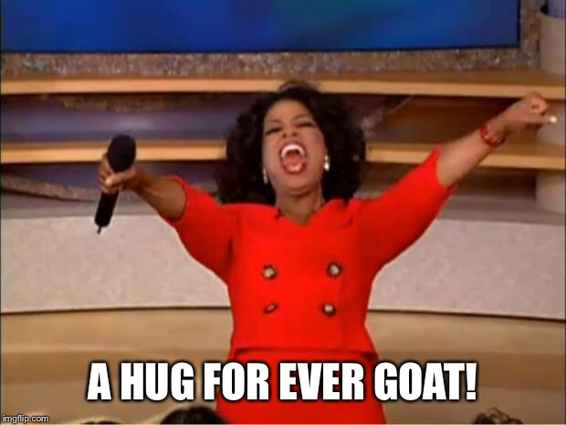 Oprah You Get A Meme | A HUG FOR EVER GOAT! | image tagged in memes,oprah you get a | made w/ Imgflip meme maker