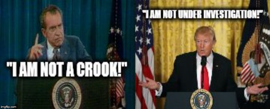 trump and nixon crooks and liars | image tagged in trump lies,richard nixon,presidents,liars club,crook,fbi investigation | made w/ Imgflip meme maker
